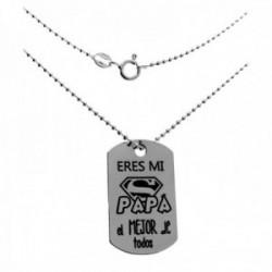 Gargantilla plata Ley 925m. cadena bolas 50cm. chapa ERES MI SUPER PAPÁ EL MEJOR DE TODOS