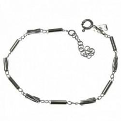 Pulsera plata Ley 925m. cadena 18cm. mujer motivo tubos retorcidos cierre reasa