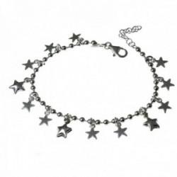 Pulsera plata Ley 925m. cadena bolas 17cm. niña fetiches estrellas cierre mosquetón