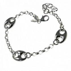 Pulsera plata Ley 925m. cadena rolo 18cm. mujer motivos calabrotes cierre mosquetón