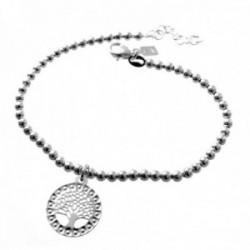 Pulsera plata Ley 925m. cadena 18cm. mujer bolas 3mm. fetiche árbol de la vida calado
