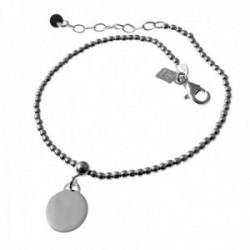 Pulsera plata Ley 925m. cadena 17cm. niña bolas 2mm. disco liso 10mm. cierre mosquetón