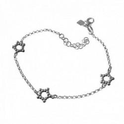 Pulsera plata Ley 925m. cadena rolo 17cm. niña motivos estrellas caladas cierre mosquetón