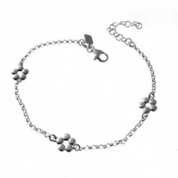 Pulsera plata Ley 925m. cadena rolo 17.5cm. niña motivos flores caladas cierre mosquetón