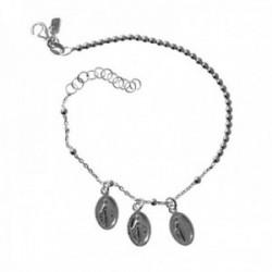Pulsera plata Ley 925m. Virgen Milagrosa mujer cadena combinada bolas 18cm. fetiches