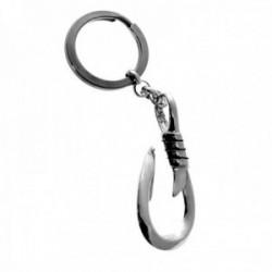 Llavero plata Ley 925m. anzuelo 50mm. cadena rolo argolla doble níquel unisex