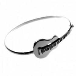 Pulsera plata Ley 925m. mujer rígida motivo guitarra oxidada calada