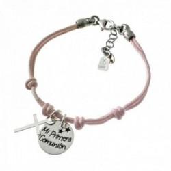 Pulsera plata Ley 925m. cordón rosa 14cm. niña disco MI PRIMERA COMUNIÓN fetiche cruz