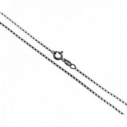 Cadena plata Ley 925m. lisa 40cm. rolo diamantada cierre reasa