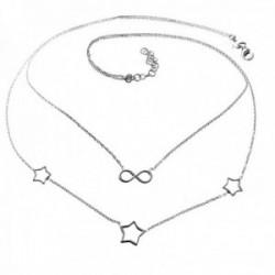 Gargantilla plata Ley 925m doble cadena mujer estrellas caladas infinito cierre mosquetón