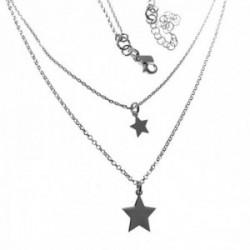 Gargantilla plata Ley 925m doble cadena mujer motivos estrellas cierre mosquetón