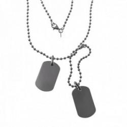 Gargantilla plata Ley 925m. doble cadena bolas chapas lisas 30x18mm. cierre mosquetón