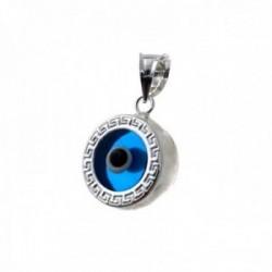 Colgante plata Ley 925m. motivo ojo turco 10mm. detalle greca