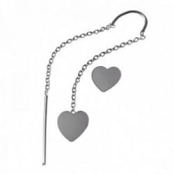 Pendientes plata Ley 925m. mujer cadena larga barra corazón cierre presión