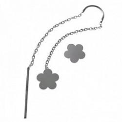 Pendientes plata Ley 925m. mujer cadena larga barra flor cierre presión