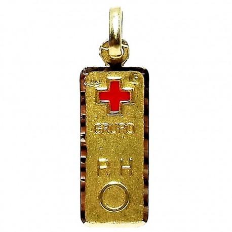 Colgante oro 18k chapa grupo sanguíneo [624]
