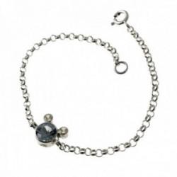 Pulsera plata Ley 925m. infantil 16cm. circonita color azul cadena rolo motivo chatón
