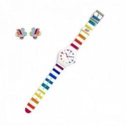 Juego Agatha Ruiz de la Prada reloj AGR236R colores pendientes plata Ley 925m flor esmalte circonita