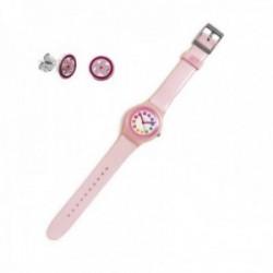 Juego Agatha Ruiz de la Prada reloj AGR238 rosa esfera flores pendientes plata Ley 925m flor esmalte