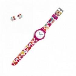 Juego Agatha Ruiz de la Prada reloj AGR238C color love pendientes plata Ley 925m corazones esmalte