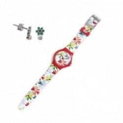 Juego Agatha Ruiz de la Prada reloj AGR239 margaritas pendientes plata Ley 925m flor verde perla