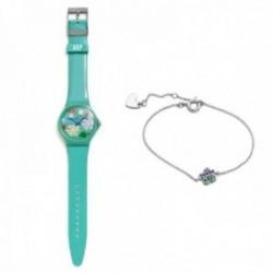 Juego Agatha Ruiz de la Prada reloj AGR241 verde selva pulsera 14cm. plata Ley 925m nube circonitas