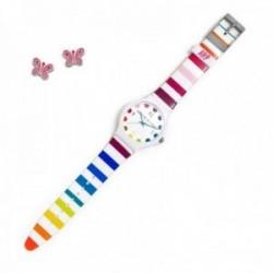 Juego Agatha Ruiz de la Prada reloj AGR242 rayas colores pendientes plata Ley 925m esmaltados rosas