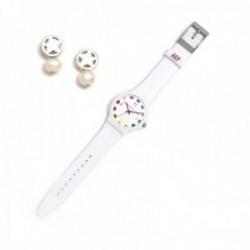 Juego Agatha Ruiz de la Prada reloj AGR243 blanco lunares pendientes plata Ley 925m estrella perla