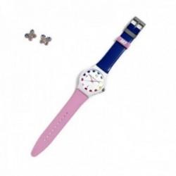 Juego Agatha Ruiz de la Prada reloj AGR244 rosa azul pendientes plata Ley 925m mariposa circonitas