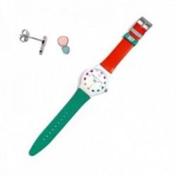 Juego Agatha Ruiz de la Prada reloj AGR245 naranja verde pendientes plata Ley 925m lunares esmalte