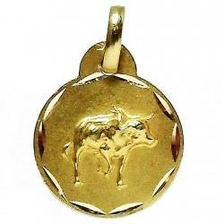 Colgante oro 18k horoscópo Tauro medalla [646]