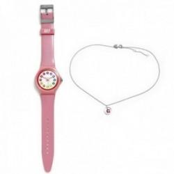 Juego Agatha Ruiz de la Prada reloj AGR246 rosa claro gargantilla plata Ley 925m flor rosa aro