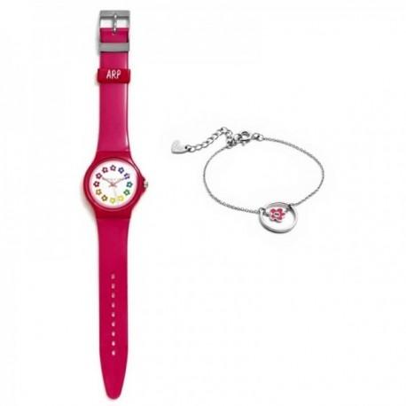 Juego Agatha Ruiz de la Prada reloj AGR247 rosa oscuro pulsera plata Ley 925m flor rosa esmalte aro