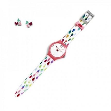 Juego Agatha Ruiz de la Prada reloj AGR247G lluvia colores pendientes plata Ley 925m corazones
