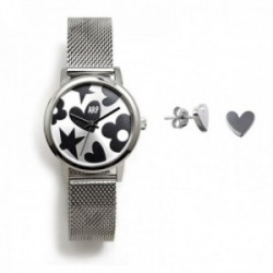 Juego Agatha Ruiz de la Prada reloj AGR248 plateado acero pendientes plata Ley 925m corazón liso