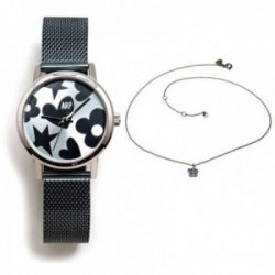 Juego Agatha Ruiz de la Prada reloj AGR250 azul acero gargantilla plata Ley 925m circonitas