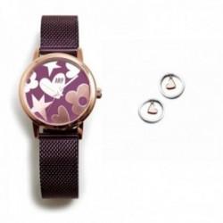 Juego Agatha Ruiz de la Prada reloj AGR251 morado acero pendientes plata Ley 925m corazón rosado aro