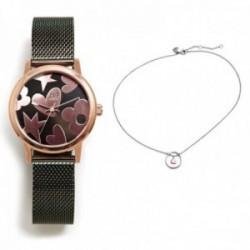 Juego Agatha Ruiz de la Prada reloj AGR252 verde acero gargantilla plata Ley 925m corazón rosado aro