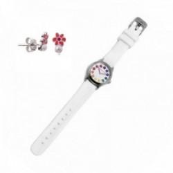 Juego Agatha Ruiz de la Prada reloj AGR253 blanco niña pendientes plata Ley 925m flor esmalte perla