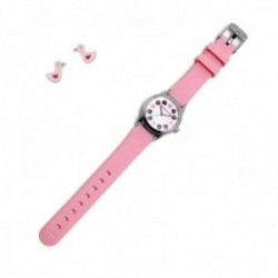 Juego Agatha Ruiz de la Prada reloj AGR254 rosa niña pendientes plata Ley 925m patitos corazón
