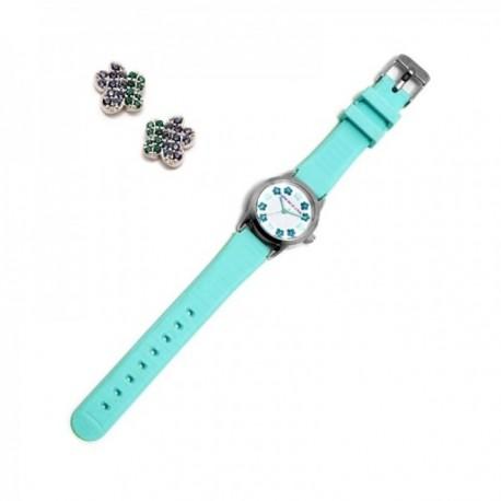 Juego Agatha Ruiz de la Prada reloj AGR255 azul niña pendientes plata Ley 925m flor circonitas