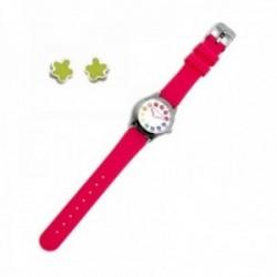 Juego Agatha Ruiz de la Prada reloj AGR256 rosa niña pendientes plata Ley 925m verde esmaltados