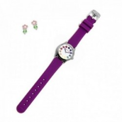 Juego Agatha Ruiz de la Prada reloj AGR257 morado niña pendientes plata Ley 925m flor tallo