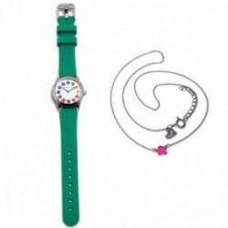 Juego Agatha Ruiz de la Prada reloj AGR258 verde niña gargantilla plata Ley 925m flor rosa esmalte