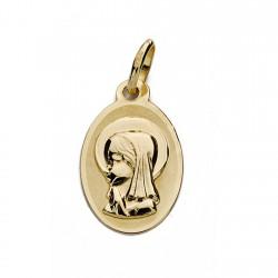 Medalla oro 18k Virgen Niña oval 17mm. bebé ancho 10mm.