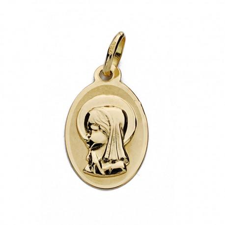 Medalla oro 18k Virgen Niña oval 17mm. [AA0178]