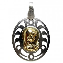 Medalla oro 18k y plata de Ley Virgen Niña 31mm. detalles calados