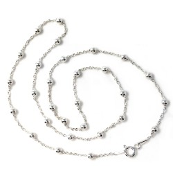 Cadena plata ley 925m 45cm. combinada bolitas mujer cierre reasa