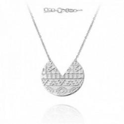 Gargantilla plata Ley 925m mujer 41cm. rodiada motivo formas cenefas redondo fondo mate mosquetón