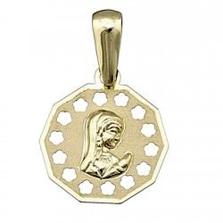 Colgante oro 18k medalla Virgen Nina [4961]
